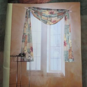 Pair of Monique Floral Sheer Window Drapery Scarfs